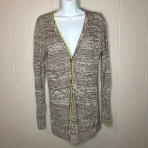 Volcom Tan + White Knit Cardigan with Neon Yellow